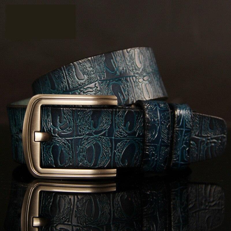 2018 pin buckle ceinture male business designer mens luxury crocodile pattern belt leather mens belts cinturones hombre