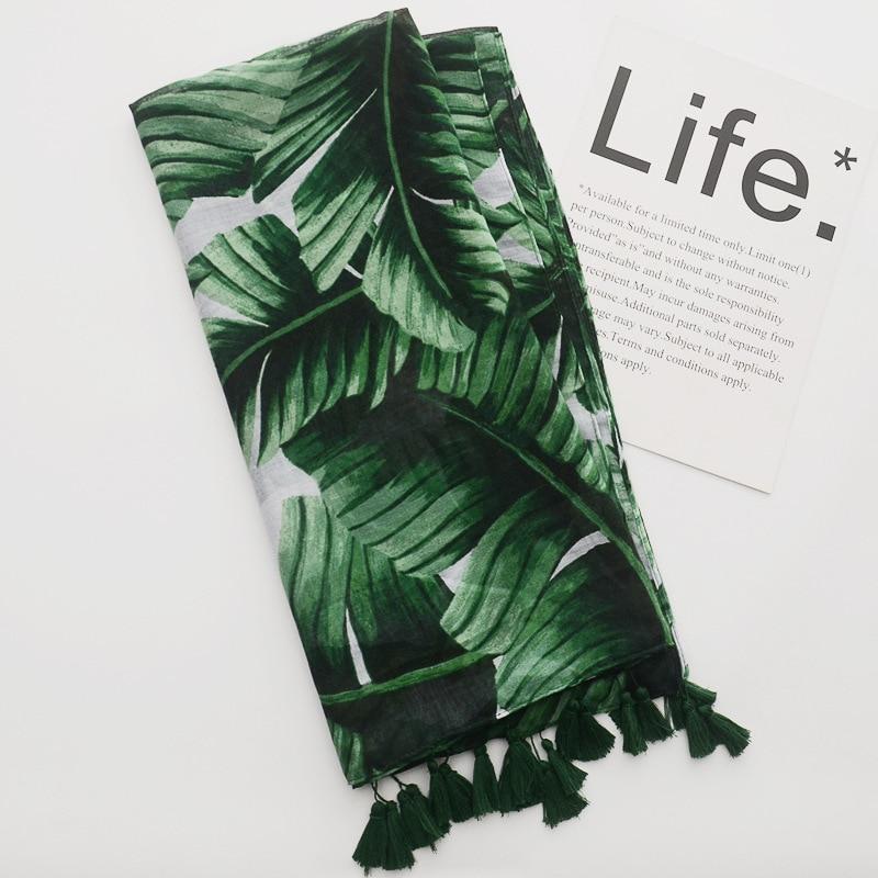 2018 Newest Women Green Palm Leaf Pattern Tassel Scarf Cotton Voile Shawls Wraps Hijab Muslim Muffler Wholesale Free Shipping