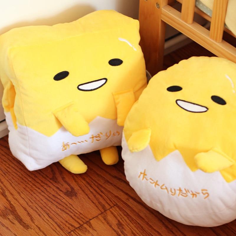 Kawaii Gudetama Lazy Egg Plush Pillow Hand Warmer Staffed Egg Jun Egg yolk brother Toy Doll Cute Soft Pillow blanket Cushion