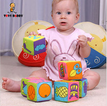 6pcs/set Infant Baby Cloth Building Blocks Soft Rattle Squishy Sound early Educational Toys Baby Soft Blocks Cube slime Boy Girl(China)