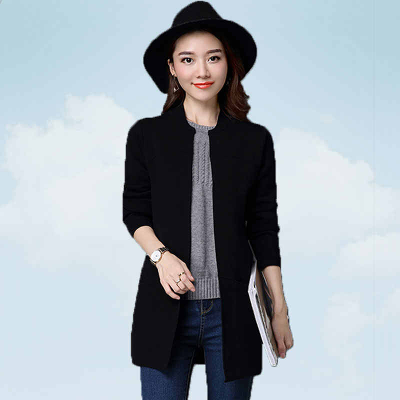 Knit Cardigan Women Loose Large Size Autumn 2019 Pure Color Wild Medium Long Simple Female Sweater Pink Low Round Neck Coat SS62