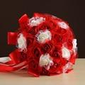 Свадебный Букет 2017 Белый Искусственные Розы Цветы, бросок, ручной Цветок, Свадебные Букеты