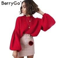 BerryGo Elegant Black Crochet Knitted Sweater Women Casual Long Lantern Sleeve Jumper Pullover Autumn Winter Loose
