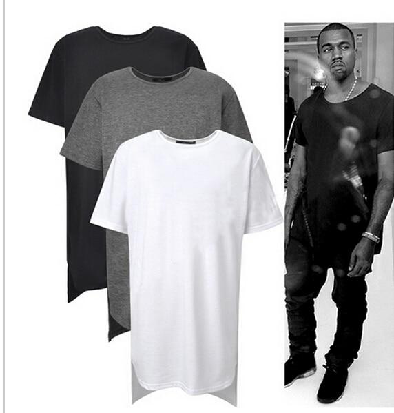 Aliexpress.com Acheter À Long Tee High Low nouveau 2016 mode Hip Hop homme ressort supérieur T Shirt T chemise T shirt hommes Tyga Swag vêtements vêtements
