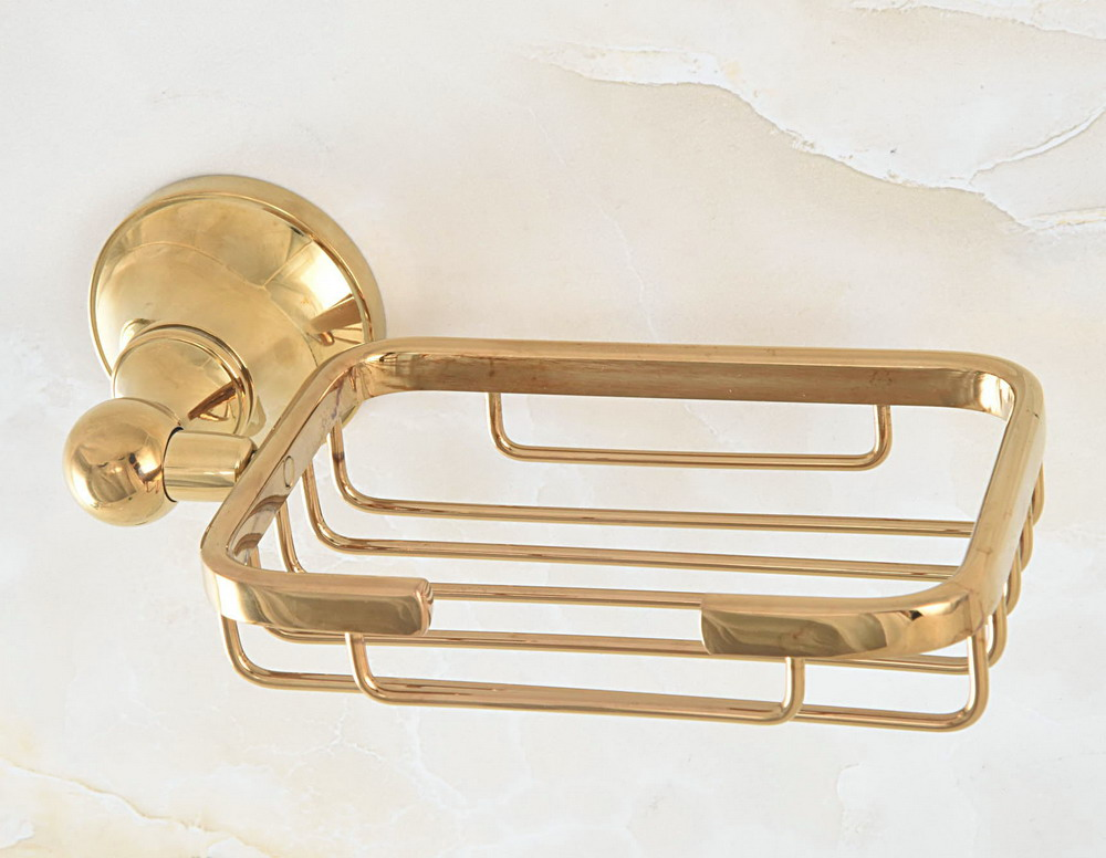 Bathroom Accessory Luxury Gold Color Polished Brass Square