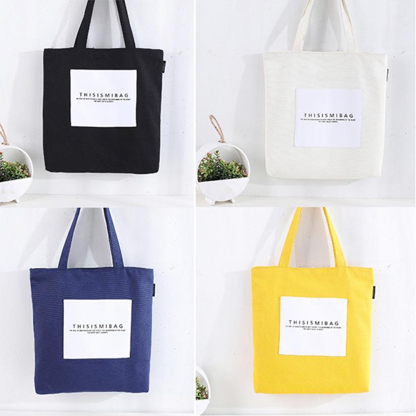 Women's Leisure Letter Canvas Shoulder Bag Tote Zipper Messenger Bags Woman Handbag Handbags