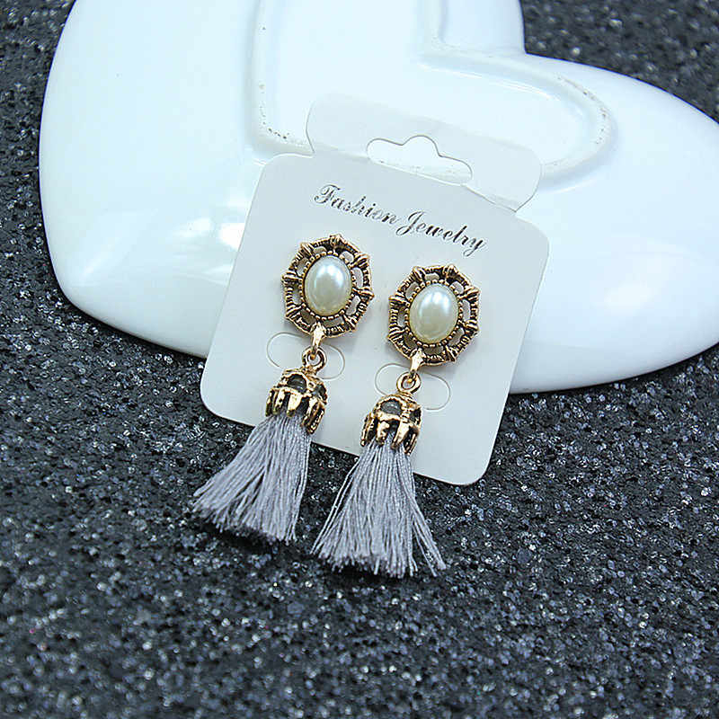 Bohemian Style Vintage Black Red Gray Tassel Drop Earrings For Women Charming Pearl Dangle Earrings Brand New Party Gift Wholesa