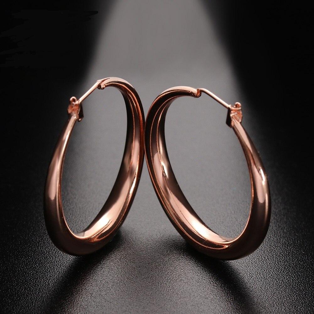 1 Paar Neue Mode Rose Gold Farbe Big Ohrring Anti Allergie Hoop Ohrringe Schmuck Für Frauen Aros Kolczyki Brincos Mujer Dinge Bequem Machen FüR Kunden