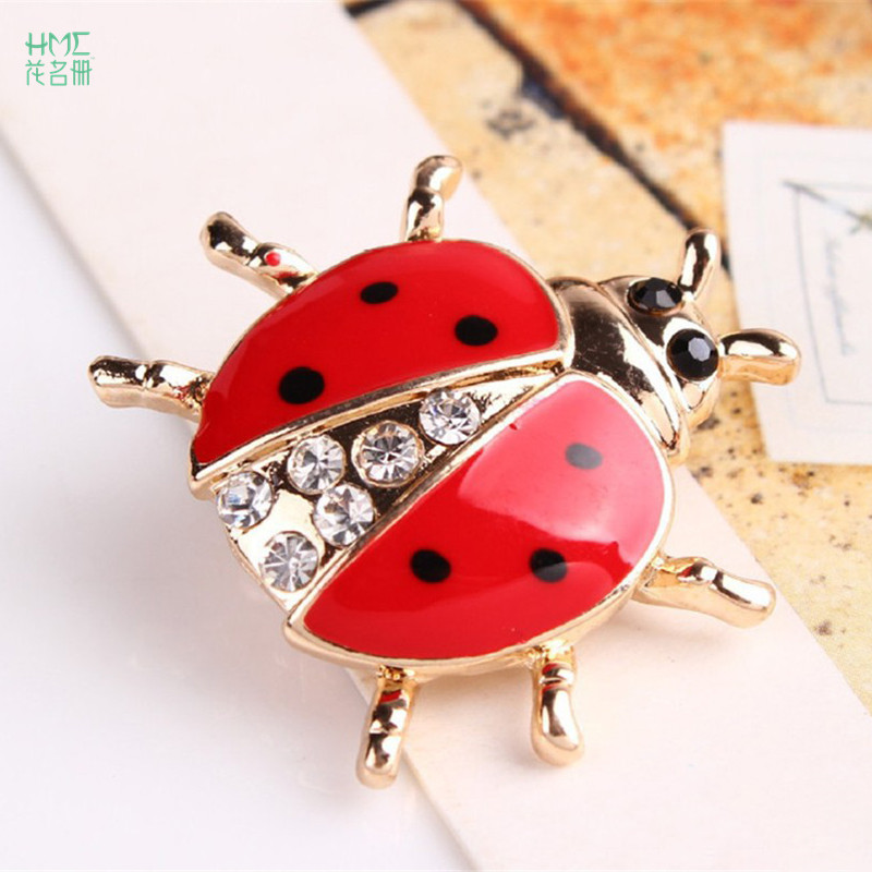 Fashion Animal Rhinestone Ladybug Brooch for Women Jewelry Clothing Backpack Party Decoration Supplies