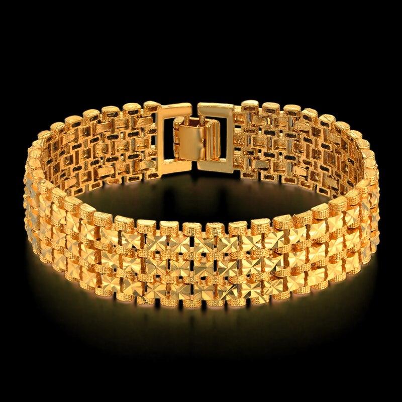 Hommes Épais Lien Bracelet 20 cm Or Couleur Hombre Mâle Chaîne Lien Bracelets Pour Hommes/Femmes Bijoux Étoiles bracelets Dropshipping