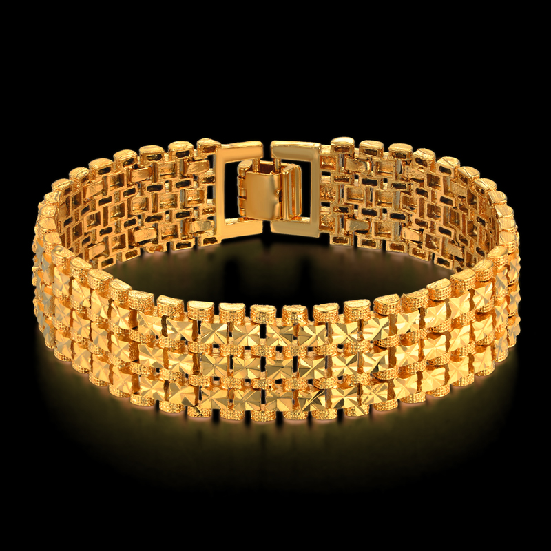 Men's Thick Link Bracelet 20CM Gold Color Hombre Male Chain Link Bracelets For Men/Women Jewelry Star Pulseras Dropshipping
