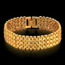 Pulsera de eslabones gruesos para Hombre y mujer, brazalete de 20CM, Color dorado, estrella de joyería
