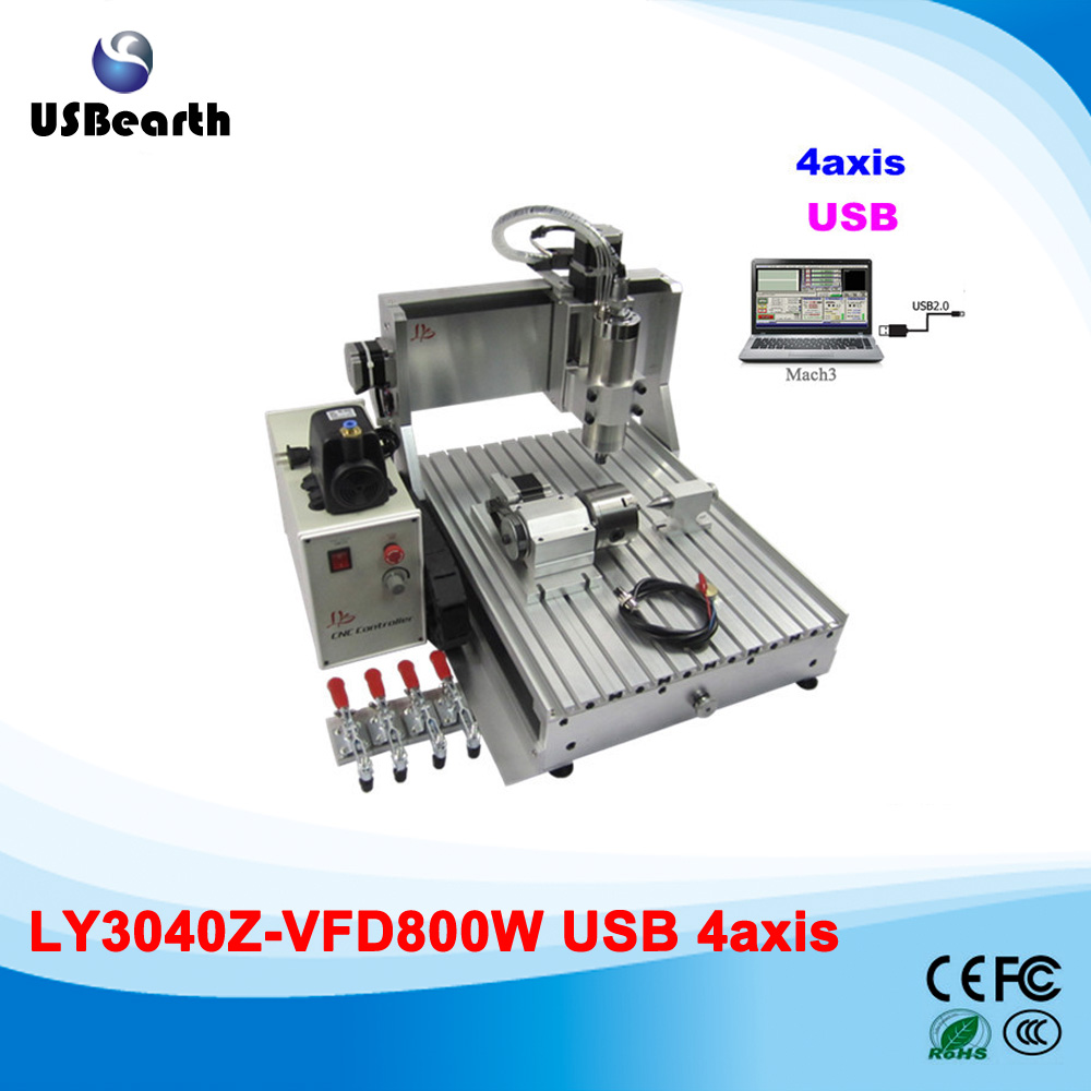 4 Axis CNC Machinery 3040Z-VFD800W Water Cooling CNC Cutting Lathe with USB intereface iso ts16949 cnc machinery parts plastic mold