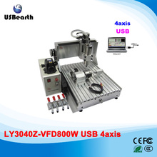 4 Axis CNC Machinery 3040Z-VFD800W Water Cooling CNC Cutting Lathe with USB intereface