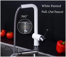 Weiß Lackiert Pull-Out Küchenarmatur Wasserhahn-badezimmer-mischer Waschbecken Wasserhahn Heiß Kalt Wasser 360 grad Drehen