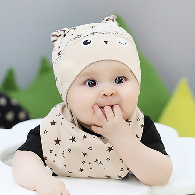 8aa6e98f6bfe New Toddler Child Baby Boys Girls Sleep Hat Cap+Saliva Towel ...