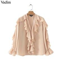 1e38c4f9e1 Vadim mulheres elegante blusa de chiffon branco ruffled transparente V neck  manga comprida feminino verão desgaste