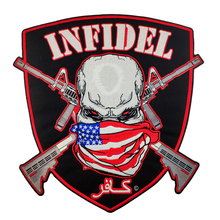 Embroidered Iron On Patches For Jacket INFIDEL Skull Innovative Patch Full Back Size Clothing Application Stickers Clothes Patch