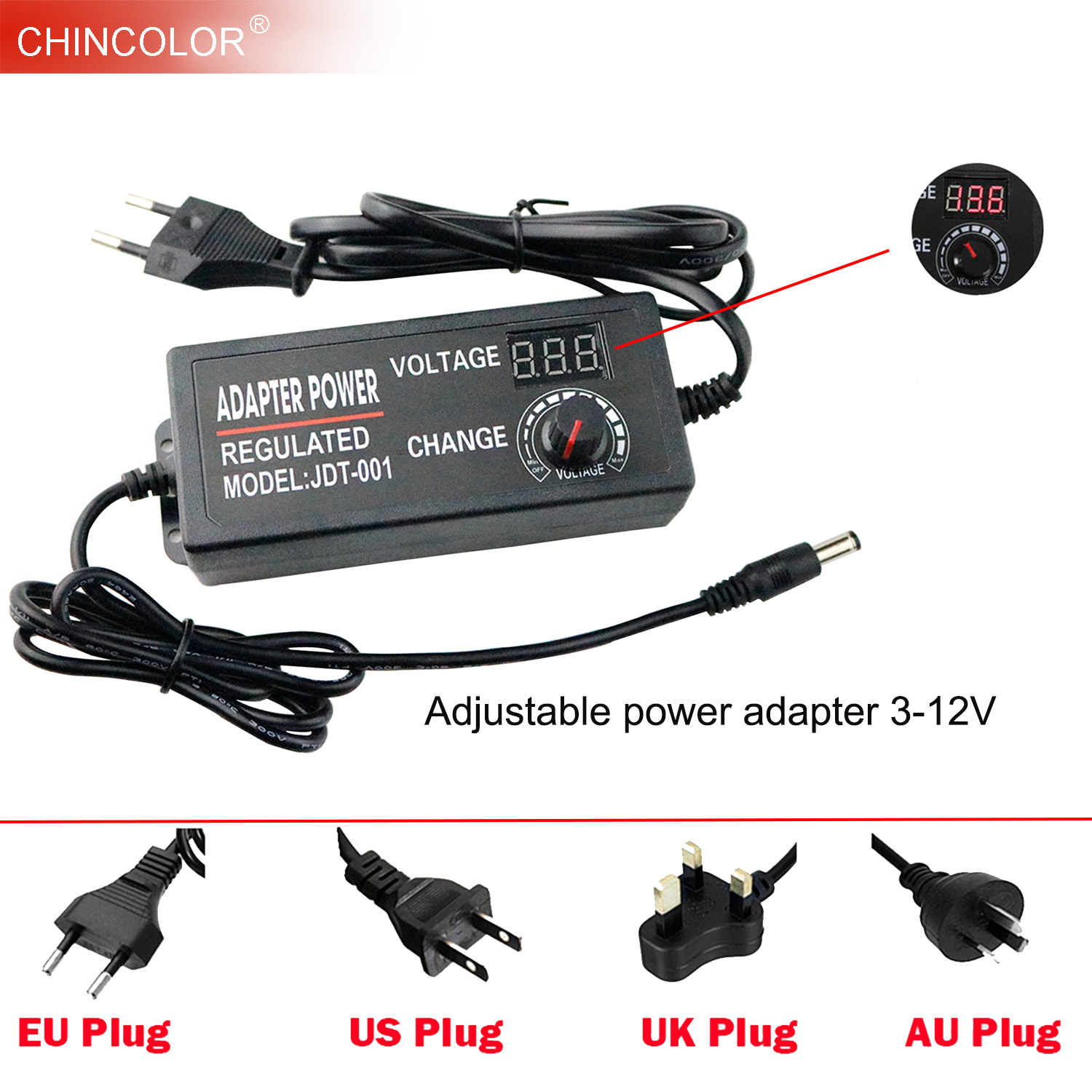 Adjustable AC DC Adapter 3V-12V 5A 60W Switching <font><b>Power</b></font> <font><b>Supply</b></font> Regulated <font><b>Power</b></font> Adapter Convertor EU US UK AU Cord Wall Charger JQ image