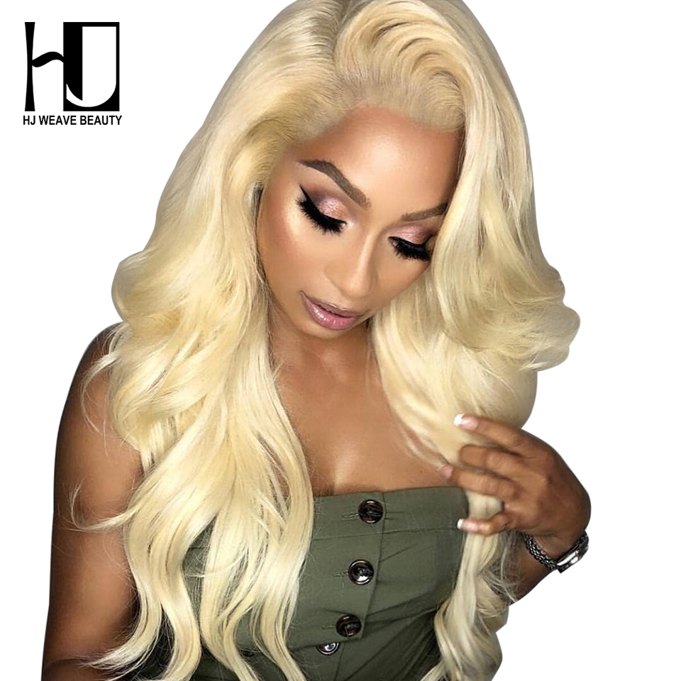 Blonde Lace Front Wig Peruvian Body Wave Remy Hair Pre Plucked With Baby Hair HD Transparent