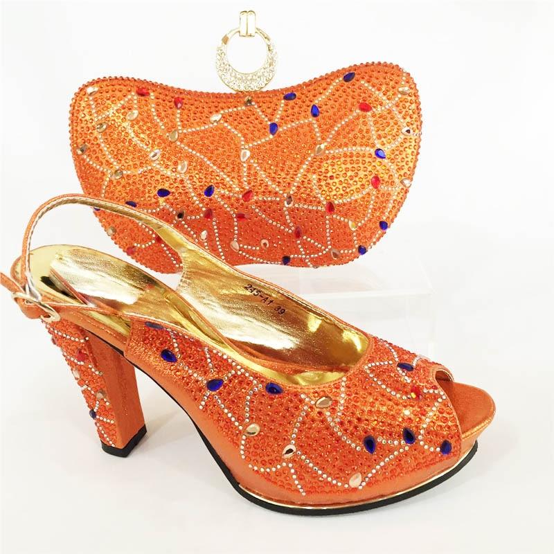 Dojrzałe włoski styl wysokie obcasy buty i torba zestaw dla partii pomarańczowy kolor klamry pasek projekt afrykański buty i dopasowanie torby w Buty damskie na słupku od Buty na  Grupa 1