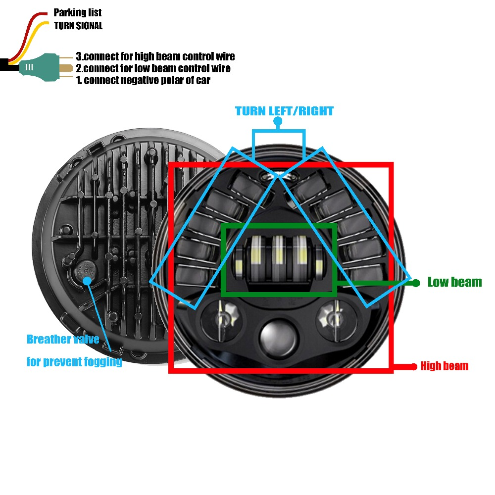 hight resolution of 7 round led headlight with turn signal wiring diagram hjyueng 80w 7inch led black round