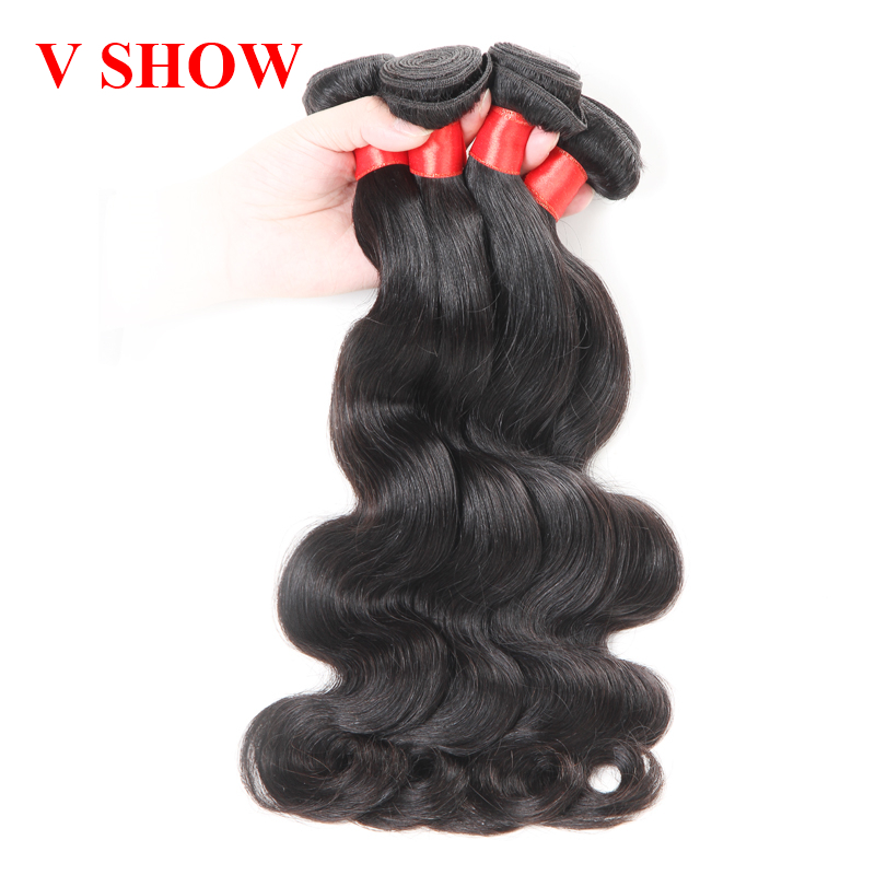 3 Bundles Peruvian Body Wave VSHOW Mänskliga Hårpaket Natural Black - Mänskligt hår (svart) - Foto 3
