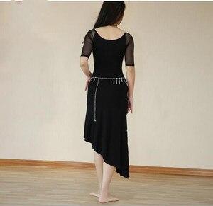 Image 2 - 2019 Cheap One Piece Modal Dress Bellydance Outfit Sexy Mesh Oriental Dance Practice Show Skirt Black Long Sleeve