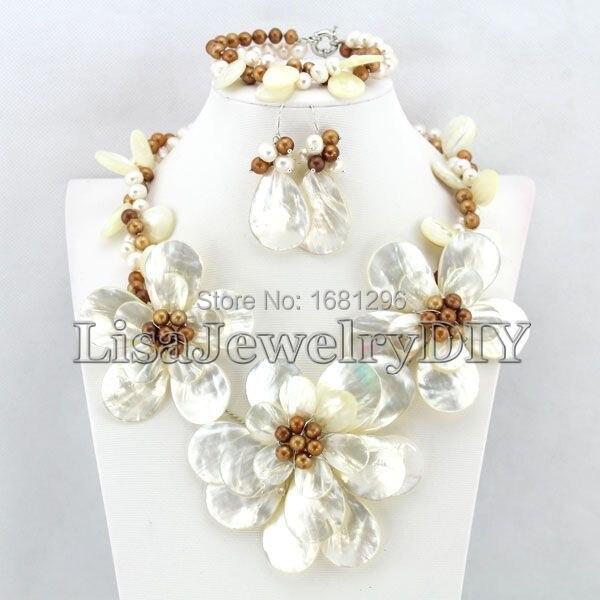Ensembles de bijoux de coquille de fleur ensembles de bijoux de perle d'eau douce collier de perles ensembles de boucles d'oreilles Bracelet de perles ensemble de bijoux de mariée HD1511