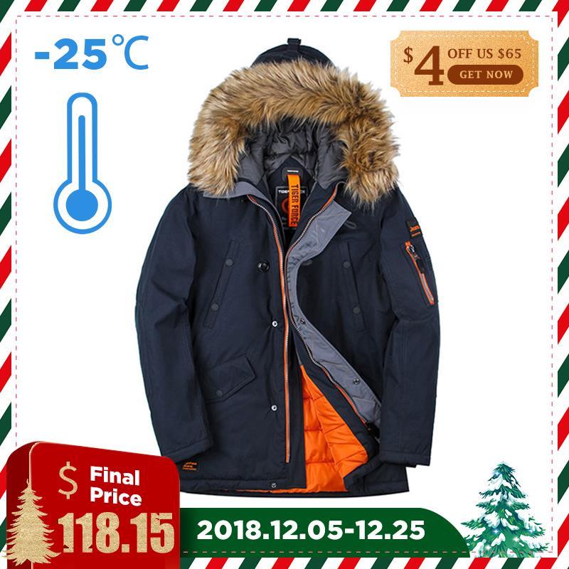 Tigre fuerza chaqueta de invierno los hombres Parka acolchada de algodón para hombre abrigo de invierno de los hombres abrigo de piel Artificial bolsillos grandes de parkas