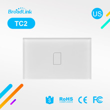 US Standard BroadLink TC2  1 Gang Smart Phone Wifi Remote Control Light Switch,RF lamps light,White Glass Touch Panel