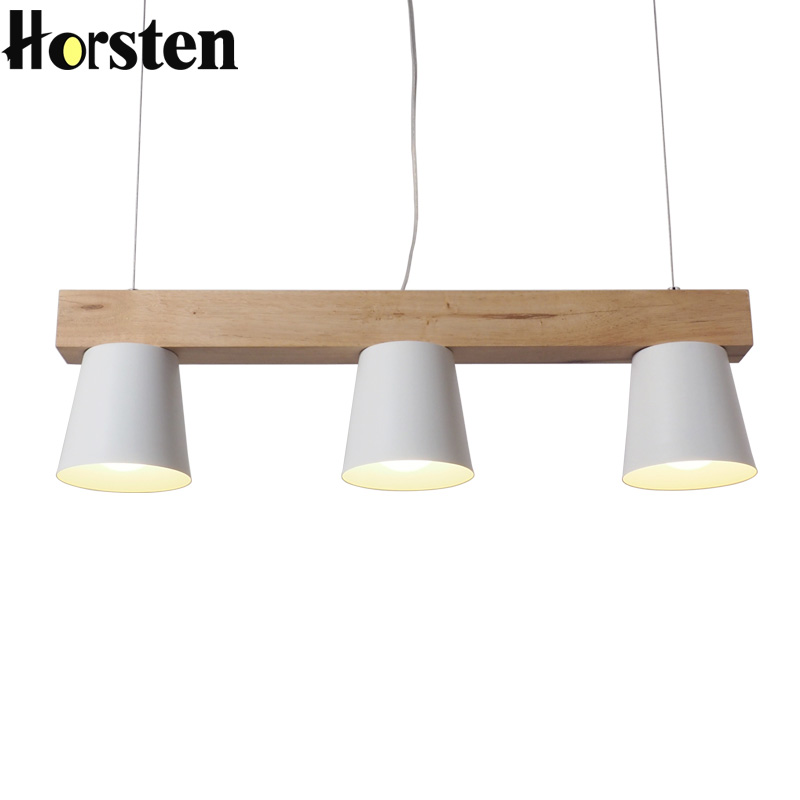 Horsten Japan Style Simple Wood Pendant Light Modern Black White Lampshade Wooden Pendant Lights Dining Room Hanging Lamp