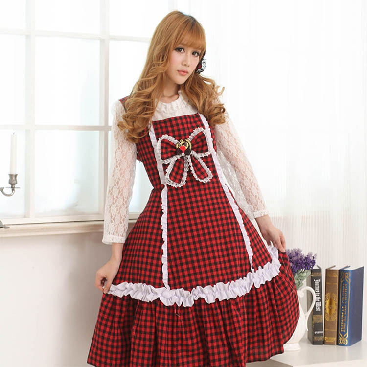 JSK Lolita Cute Lolita Costume Maid Style Lovely Print Lolita JSK Red