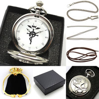 Silver Color Fullmetal Alchemist Watch Necklace Pocket Watch Man Woman With Necklace Chain Gift Box