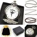 Cor prata Fullmetal Alchemist Relógio de Bolso Colar Relógio de Mulher Homem Com Caixa de Presente Colar de Corrente