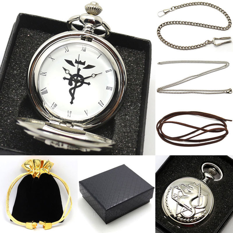 Silver Color Fullmetal Alchemist Watch Necklace Pocket Watch Man Woman With Necklace Chain Gift Box antique fullmetal alchemist full metal case bronze pocket watch with chian necklace christmas