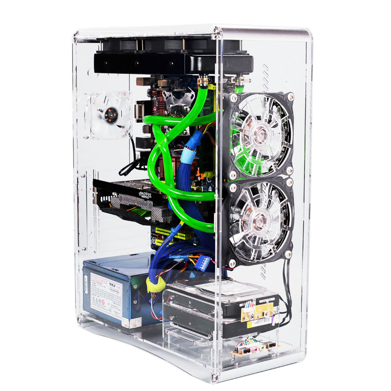 Test Bench Computer Case Fully Transparent chassis for ATX MATX Micro ATX Motherboard PC Components not included Water Cooled