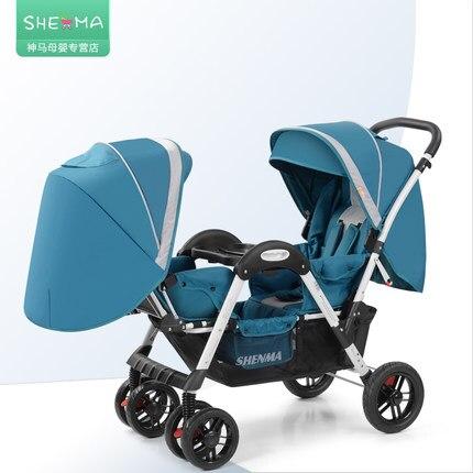 Babyfond luxury twins carrinho de bebê duplo criança duplo carrinho de bebê leve dobrar pode sentar reclináveis Shenma dois kid pram