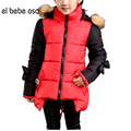 el bebe oso Girls'  Winter Long Cute Hoodies Coat Cotton Padded Patchwork Clothes Kids Korean Fashion Coats Jacket  XL524