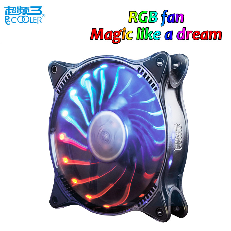 Pccooler Starry Sky 12cm computer pc case cooling fan quite RGB magic adjustable LED 120mm CPU radiator Water cooler fan slient aerocool 15 blade 1 56w mute model computer cpu cooling fan black 12 x 12cm 7v