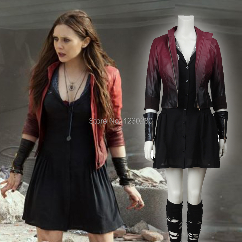 The Avengers 2 Age of Ultron Scarlet Witch Cosplay Costume Scarlet Witch Wanda Maximoff Costume Women Halloween Dress Women