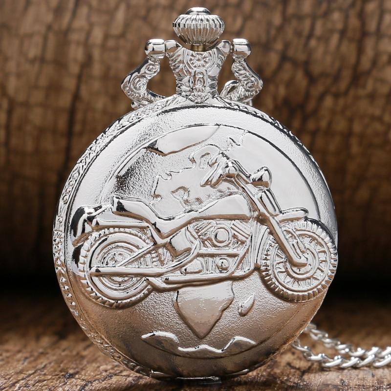 Vintage Retro Silver Color Motorcycle Motorbike MOTO Pocket Watch Necklace Pendant Quartz Watch Relogio De Bolso Men Gift