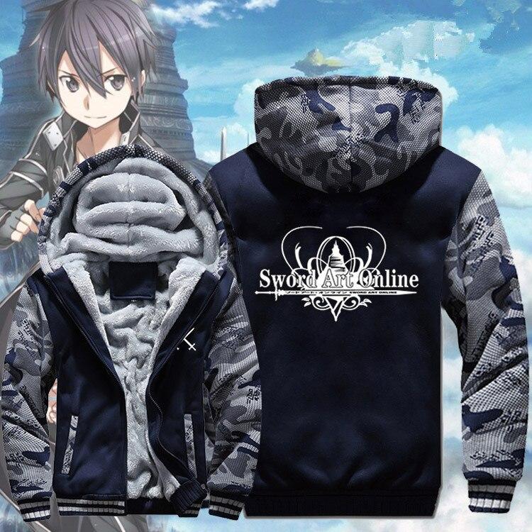 Winter Warm Sword Art Online Hoodies SAO Hot Anime Hooded Coat Thick Zipper Men Casual Cardigan Jacket Sweatshirt
