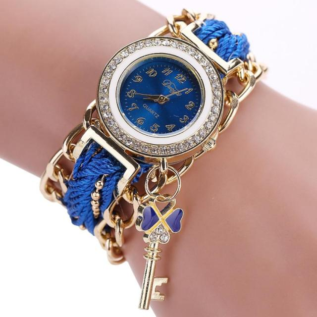 Aimecor Braided Band Rhinestone Analog Bracelet Watch Ladies Rope Quartz Wrist W