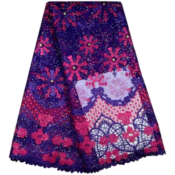 Purple Color African Lace Fabric 2017 Embroidered Nigerian Laces Fabric Bridal High Class French Tulle Lace Fabric For Women647B