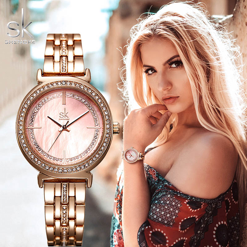 SHENGKE Ladies Wrist Watch Kol Saati Rose Gold Stainless Steel Watch For Women SK Top Brand Luxury 2019 Relogio Feminino Relojes