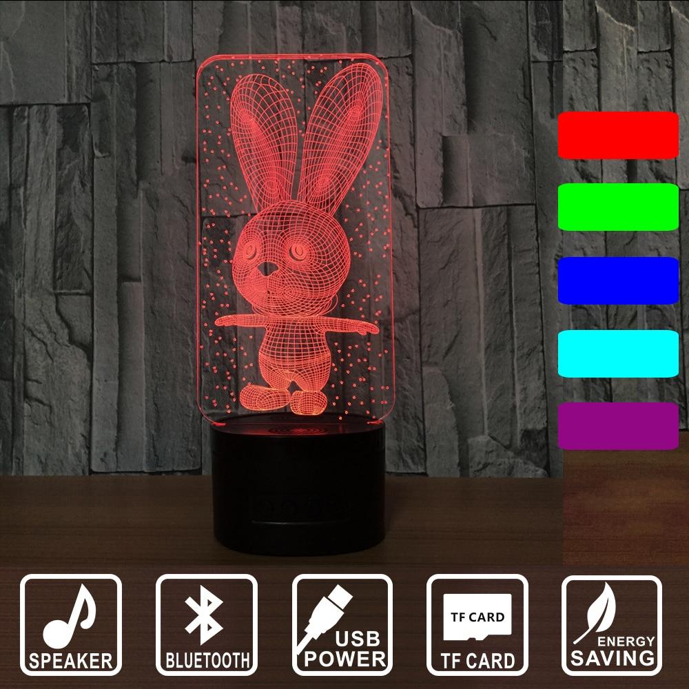3D Bluetooth speaker LED Night Light Lovely Cartoon Rabbit 7 Color Change Table Animal  Kids Birthday Gift RGB IY803015B table decor color change best gift led night light