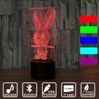 3D Bluetooth Speaker LED Night Light Lovely Cartoon Rabbit 7 Color Change Table Animal Kids Birthday
