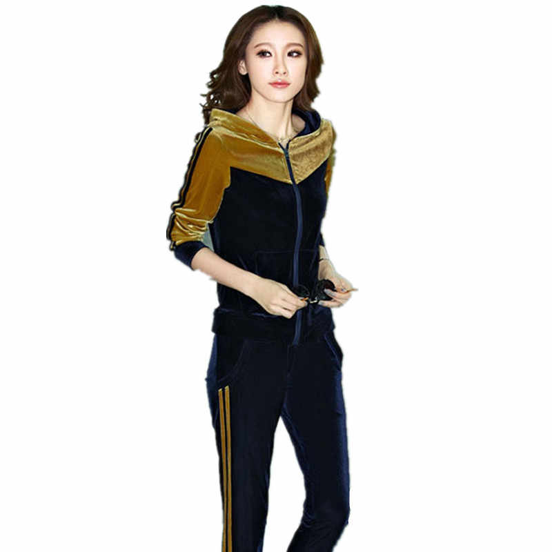 eb968d75 Autumn Womens Gold Velvet Leisure Suit Clothing Set Casual Patchwork Velour  Hoodies + Pants Sportswear Tracksuit