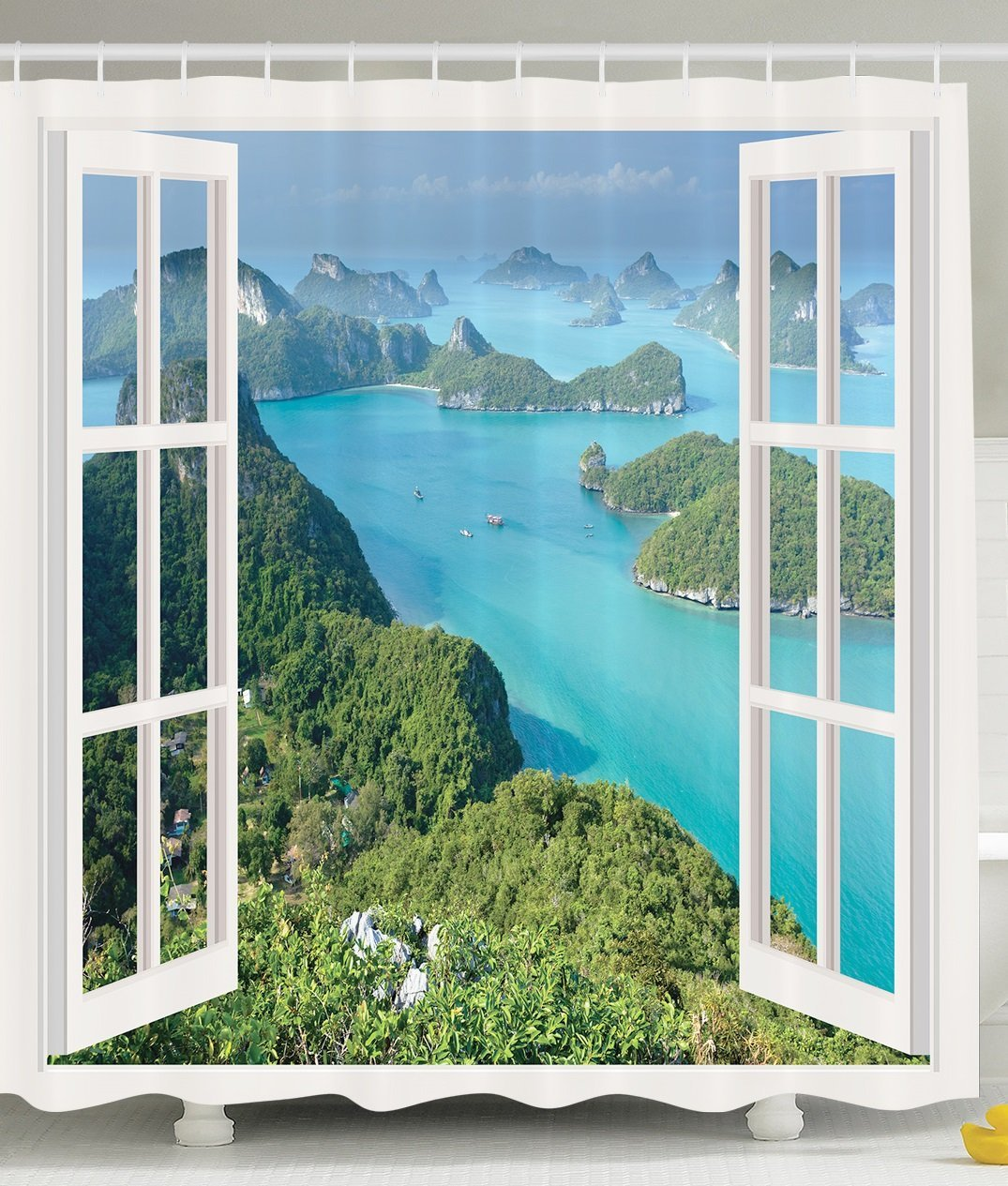 Decor for Bathroom Tropical Island Mountain Ocean Theme White Wooden Window Panorama with Scenic View Scene